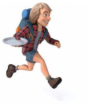 Cara de desenho animado divertido mochileiro
