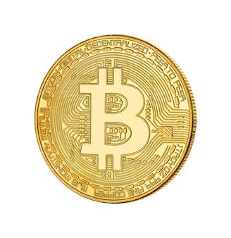 Cara do bitcoin dourado de criptomoeda em branco