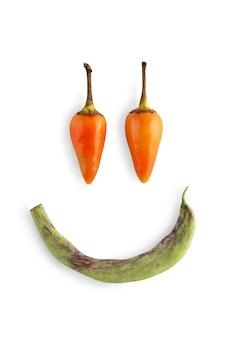 Cara engraçada sorridente de pimenta isolada. imagem do close up de vegetais picantes quentes ideais, pimenta de caiena, galinha-jalapeño. humor saudável com comida orgânica natural