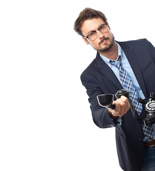 Cara masculina tecnologia de escritório branca