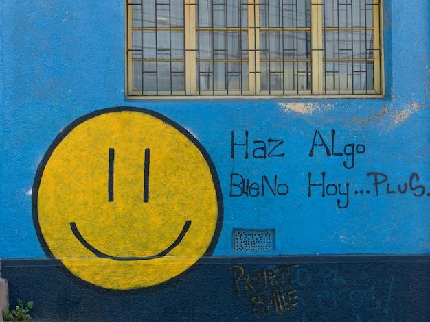 Cara sorridente na parede, valparaíso, chile