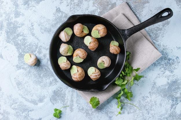 Caracóis não cozidos de escargots de bourgogne