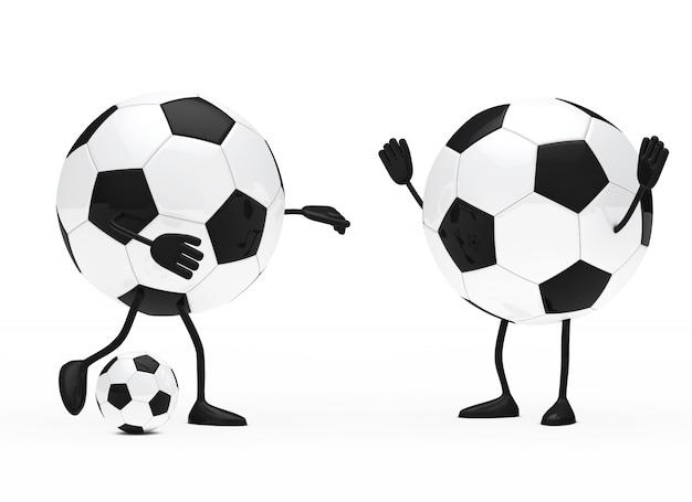 Caracteres redondos jogando futebol