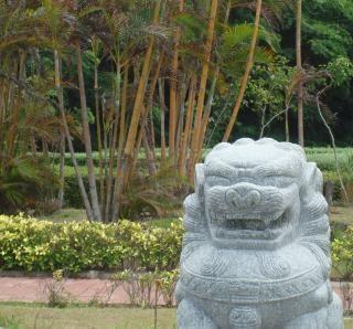 Característica jardim chinês leão