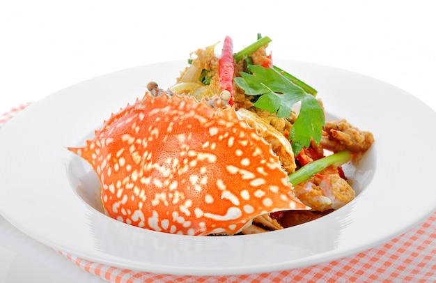 Caranguejo frito com curry em pó.