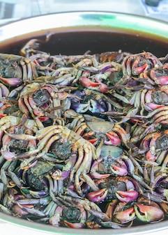 Caranguejo no sal uma pilha do caranguejo preservado com sal.
