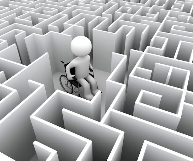 Caráter branco 3d e labirinto de deficiência