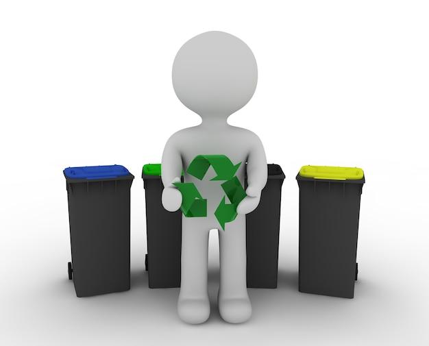 Caráter branco na frente da lata de lixo e símbolo de reciclagem
