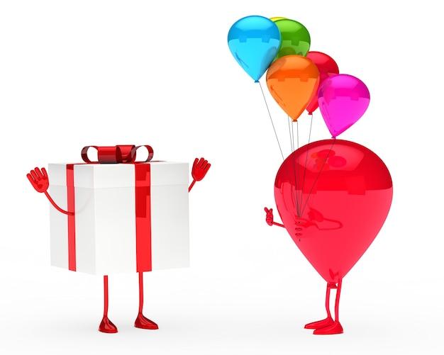 Caráter dando balões coloridos