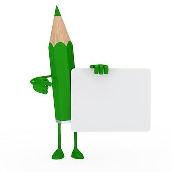 Caráter verde segurando uma placa