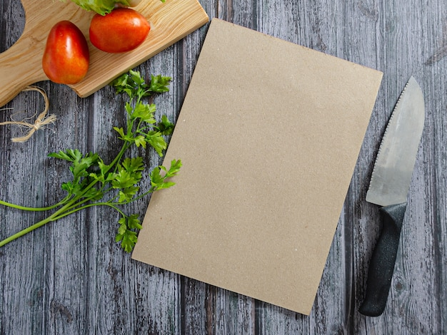 Cardápio de cozinha com legumes