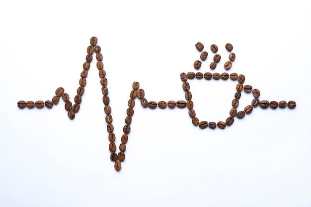 Cardiograma e copo desenhado com grãos de café.