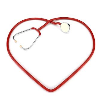 Cardiologista vermelho do estetoscópio isolado no fundo branco. o design dos serviços de saúde. ilustração 3d.