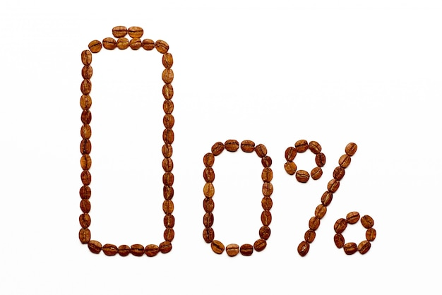 Carga da bateria 0% de grãos de café