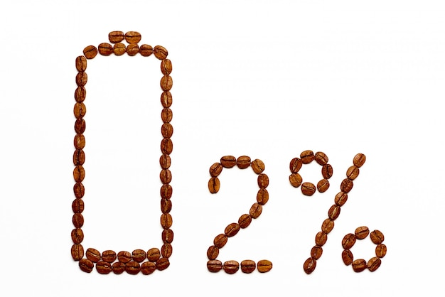 Carga da bateria 2% de grãos de café