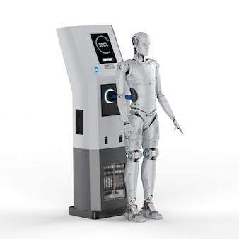 Carga do robô de renderização 3d com estação de carga elétrica