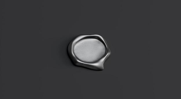Carimbo de cera cinza em branco simulado, isolado em fundo preto, profundidade de campo