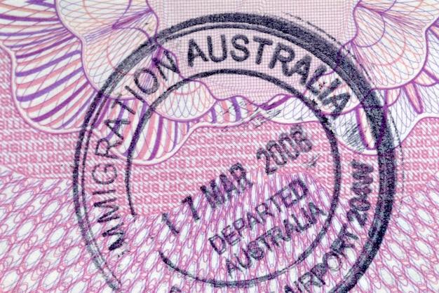 Carimbo de passaporte de partida de imigração australiana