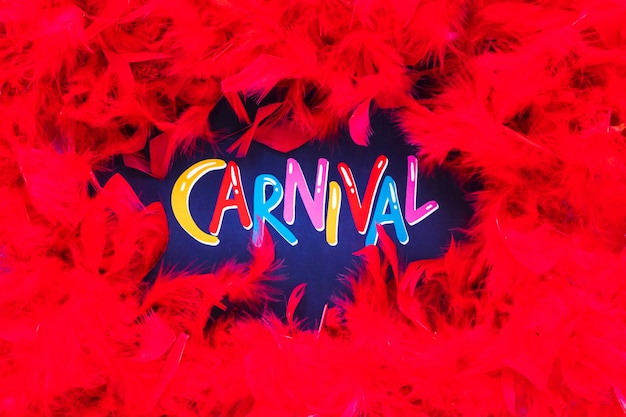 Carnaval escrevendo com moldura de penas