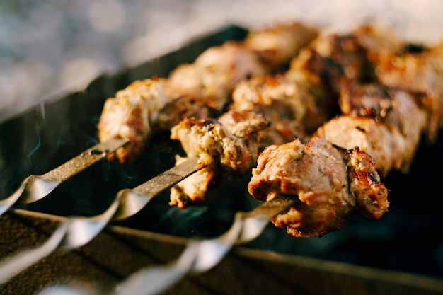 Carne assada em espetos na natureza com fumaça