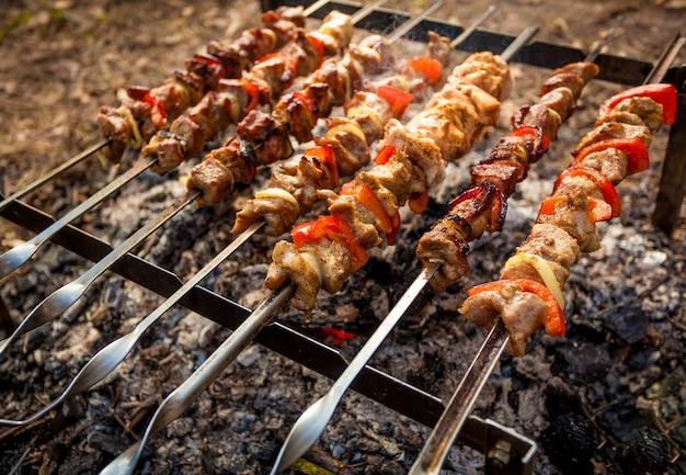 Carne assada no fogo no piquenique
