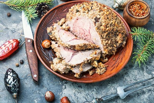 Carne assada para o natal