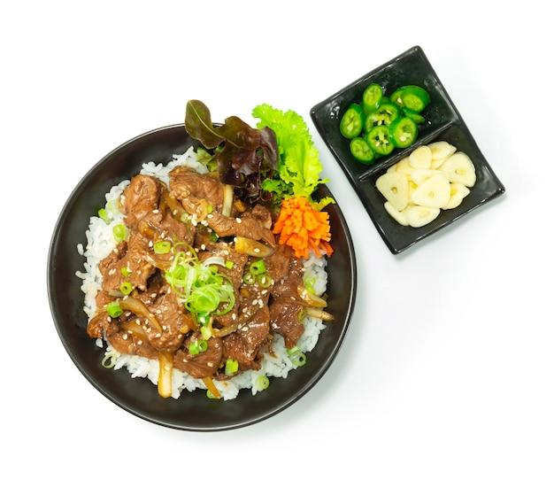 Carne churrasco bulgogi comida coreana frita em cima receita de arroz estilo servido pimentão e alho decore legumes vista de cima
