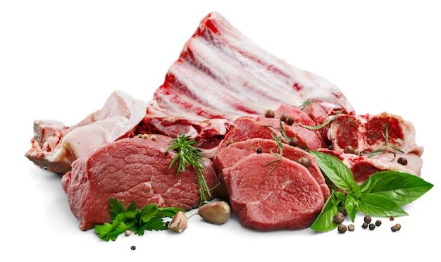 Carne crua fresca na mesa