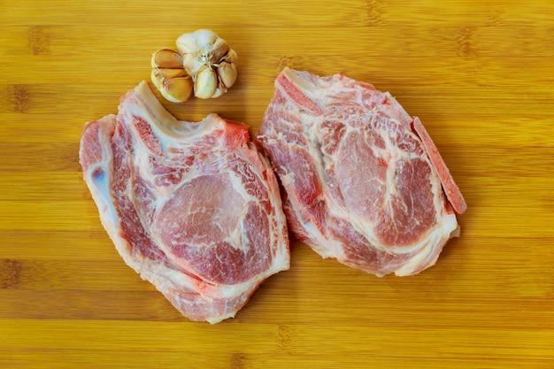 Carne de porco crua de cordeiro cru