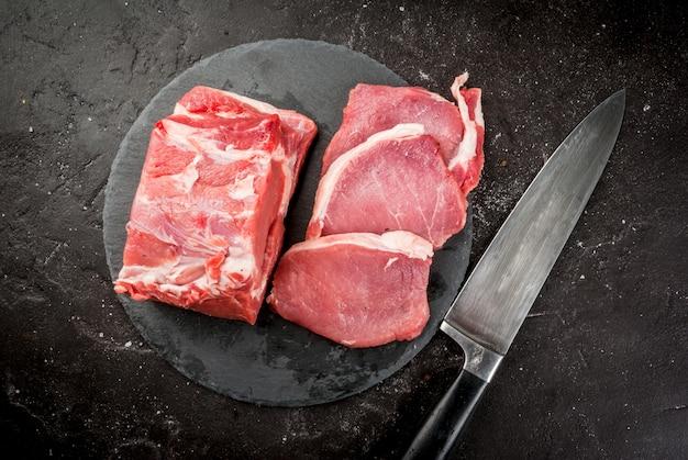 Carne de porco crua fresca, peito, filé