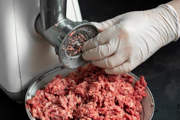 Carne moída crua picada de carne fresca