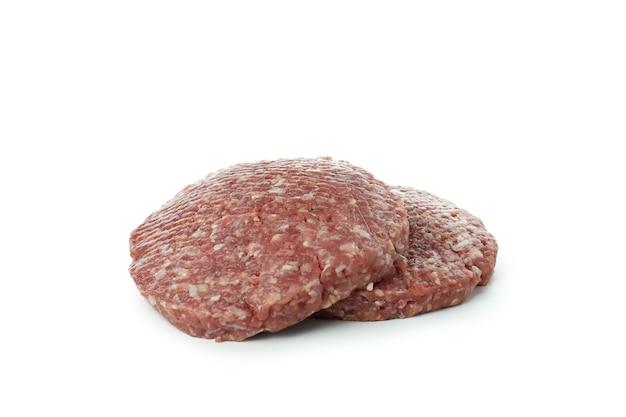 Carne saborosa de hambúrguer isolada em fundo branco