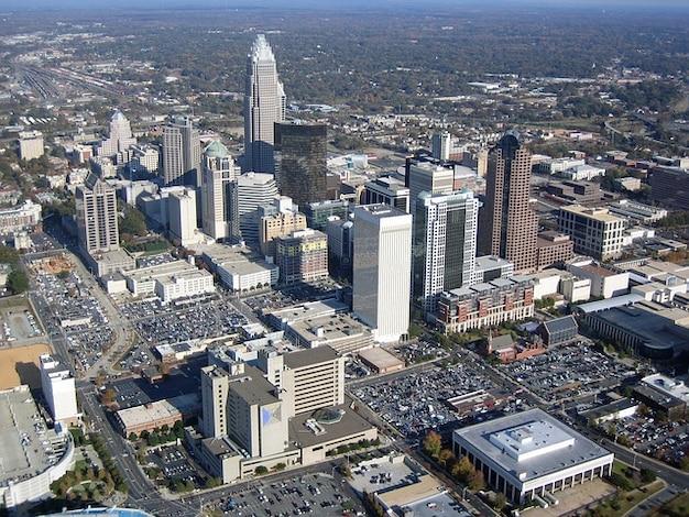 Carolina paisagem urbana aérea da cidade vista norte charlotte