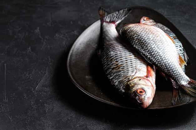 Carpa crucian crua em uma placa preta. peixe orgânico do rio. vista do topo