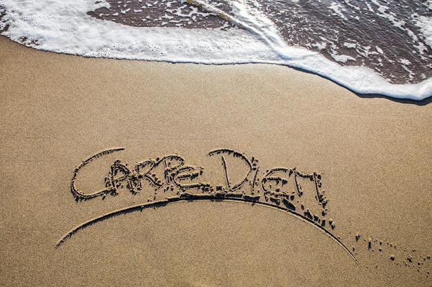 Carpe diem escrito na praia de areia