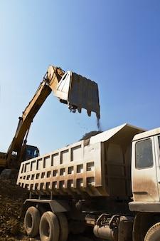 Carregador e caminhão de escavadeira