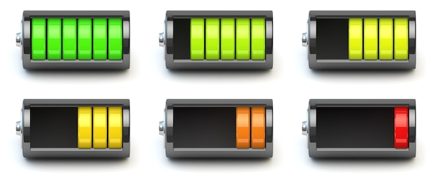 Carregamento da bateria indicadores de nível de carga da bateria isolados na ilustração 3d branca