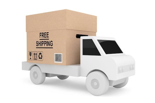 Carregamento de caminhão simples com caixa de remessa grátis em um fundo branco