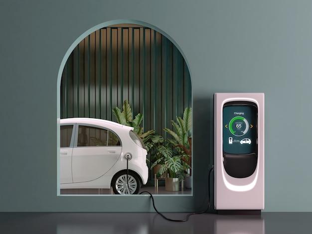Carregamento de carro elétrico na garagem