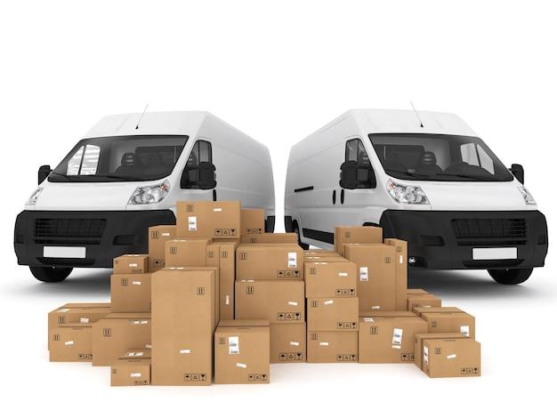 Carregando pilha de caixas embaladas na van. renderização 3d