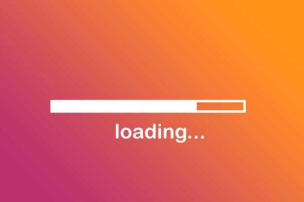 Carregando, uma barra de progresso mostrando o carregamento, desenhada contra um fundo de cor brilhante.