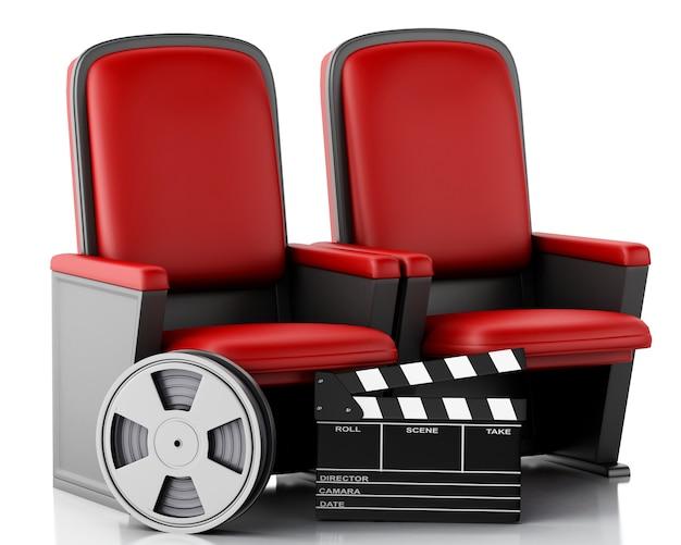 Carretel de filme 3d e placa de válvula do cinema no assento do teatro.