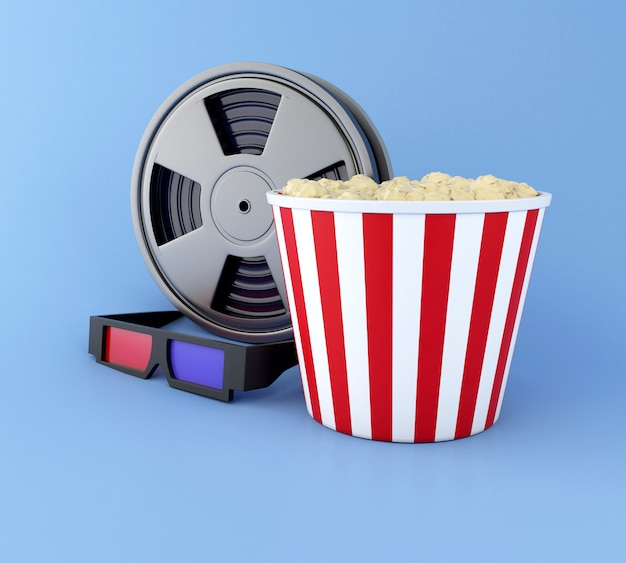 Carretel de filme 3d, pipoca e óculos 3d.