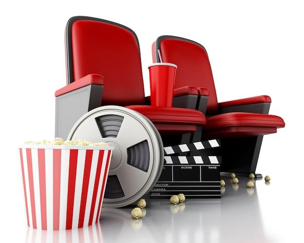 Carretel de filme 3d, pipoca e placa de válvula do cinema no assento do teatro.