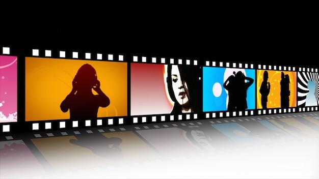 Carretel de filme de música e dança