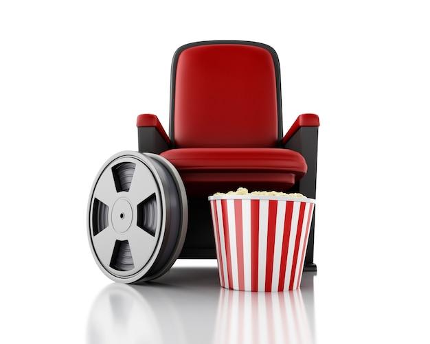 Carretel e pipoca de filme 3d no assento do teatro.