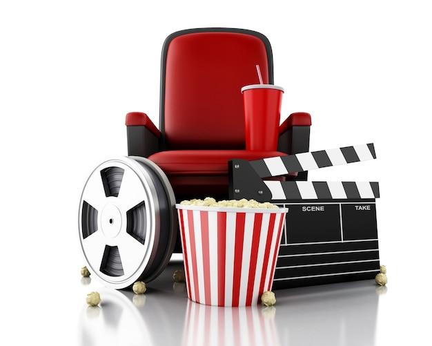 Carretel, pipoca e bebida de filme 3d no assento do teatro.