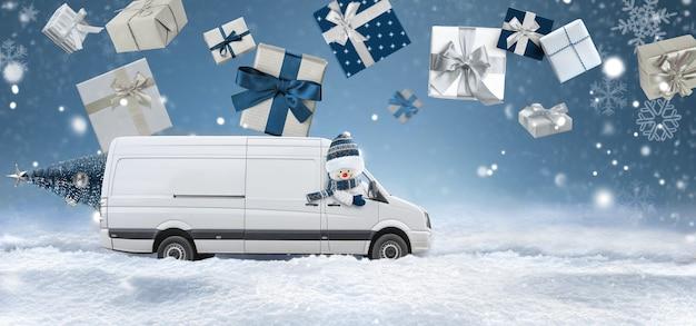 Carrinha de entrega conduzida por um boneco de neve com presentes de natal