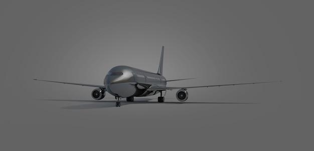 Carrinho de avião preto em branco, vista frontal isolado