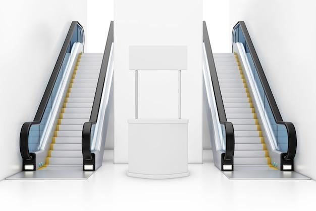 Carrinho de banner de promoção de publicidade em branco entre escadas rolantes de luxo moderno no interior do edifício shopping center, aeroporto ou metro closeup extrema. renderização 3d